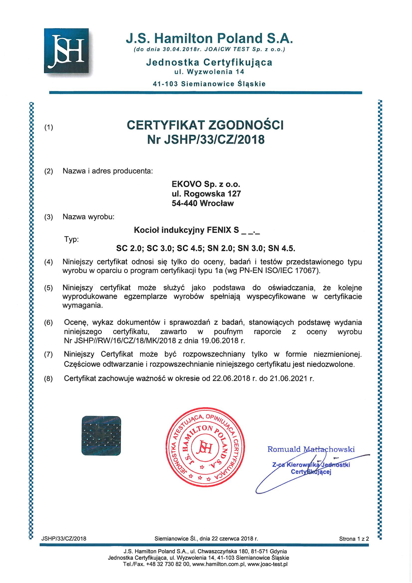 Certyfikat zgodności kotła Fenix